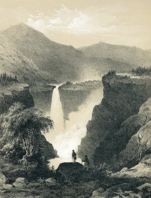 Gustav Adolph Mordt, illustration of  Rjukanfoss/ Tellemarken  (1848).