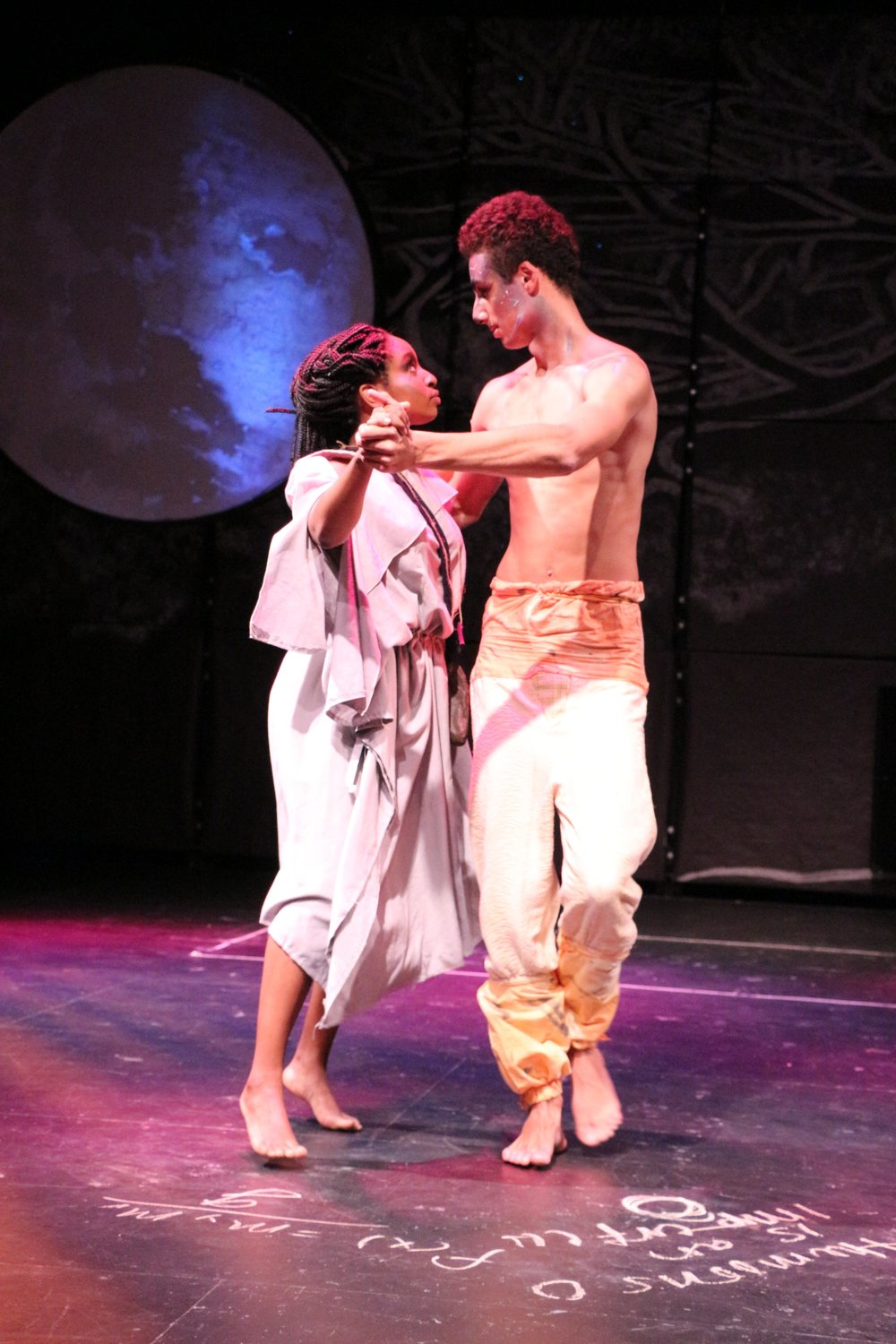 Maya C. Boyd and Brenden Peifer in the University of Pittsburgh production of  Aglaonike's Tiger . Photo by Amanda Olmstead.