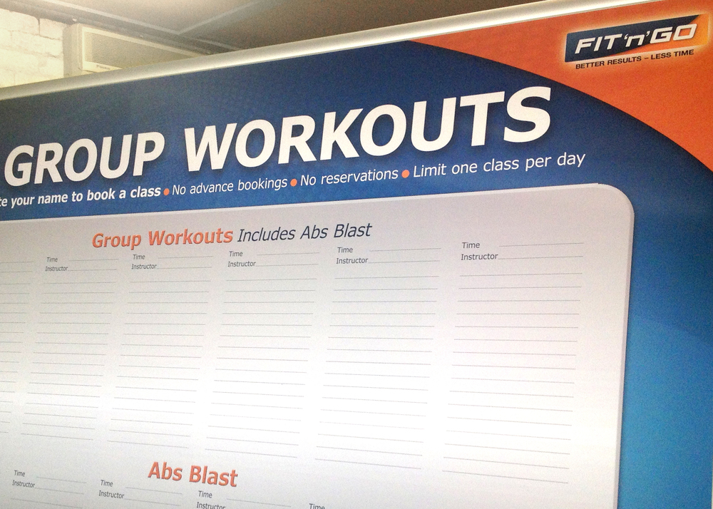 Fit'N'Go Class Sign-Up Board