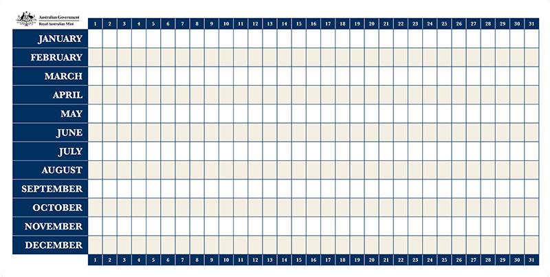 Royal Australian Mint - Perpetual Whiteboard Calendar