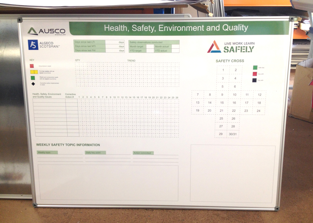 Safety and Environment Check boards for Ausco Modular