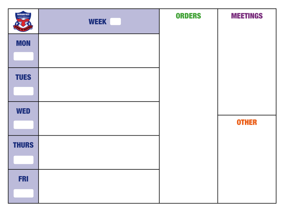 Weekly School Planner whiteboard with logo #whiteboardsyourway