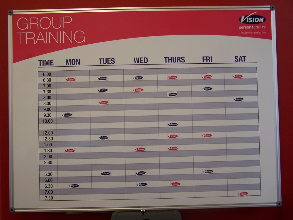 Vision Personal training - Group Training Timetable