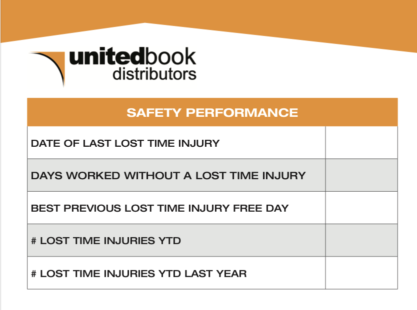"""United Books """"Incident Free Days"""" whiteboard"""