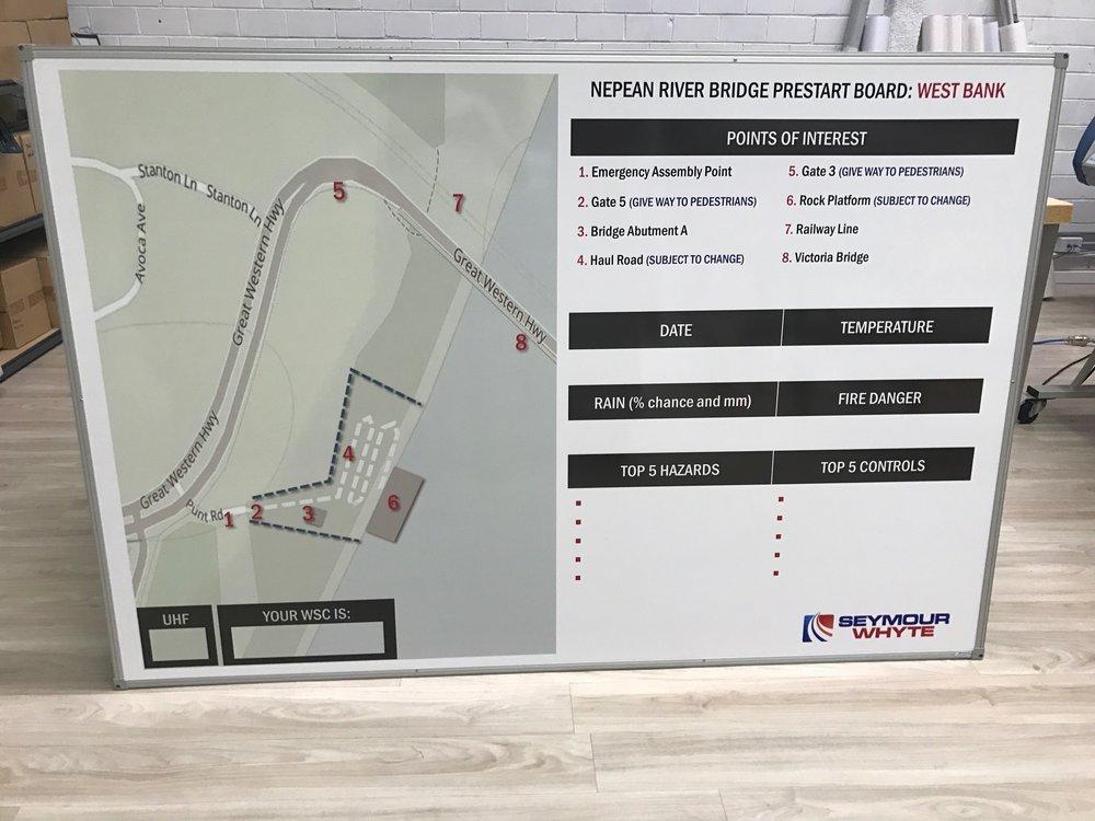 PresStart board with Site Map - Seymour Whyte #seymourwhyte