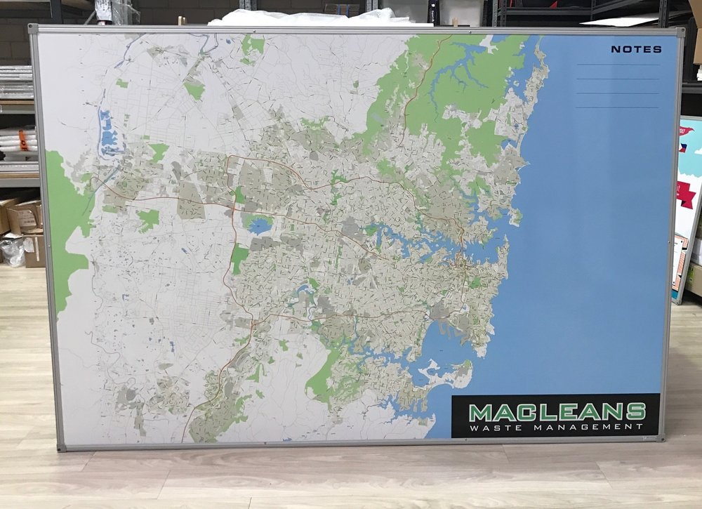 Sydney City Map Whtieboard - Macleans Wast Management