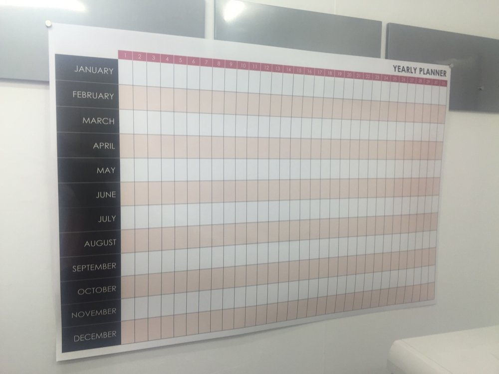 Roll-Up yearly planner whiteboard