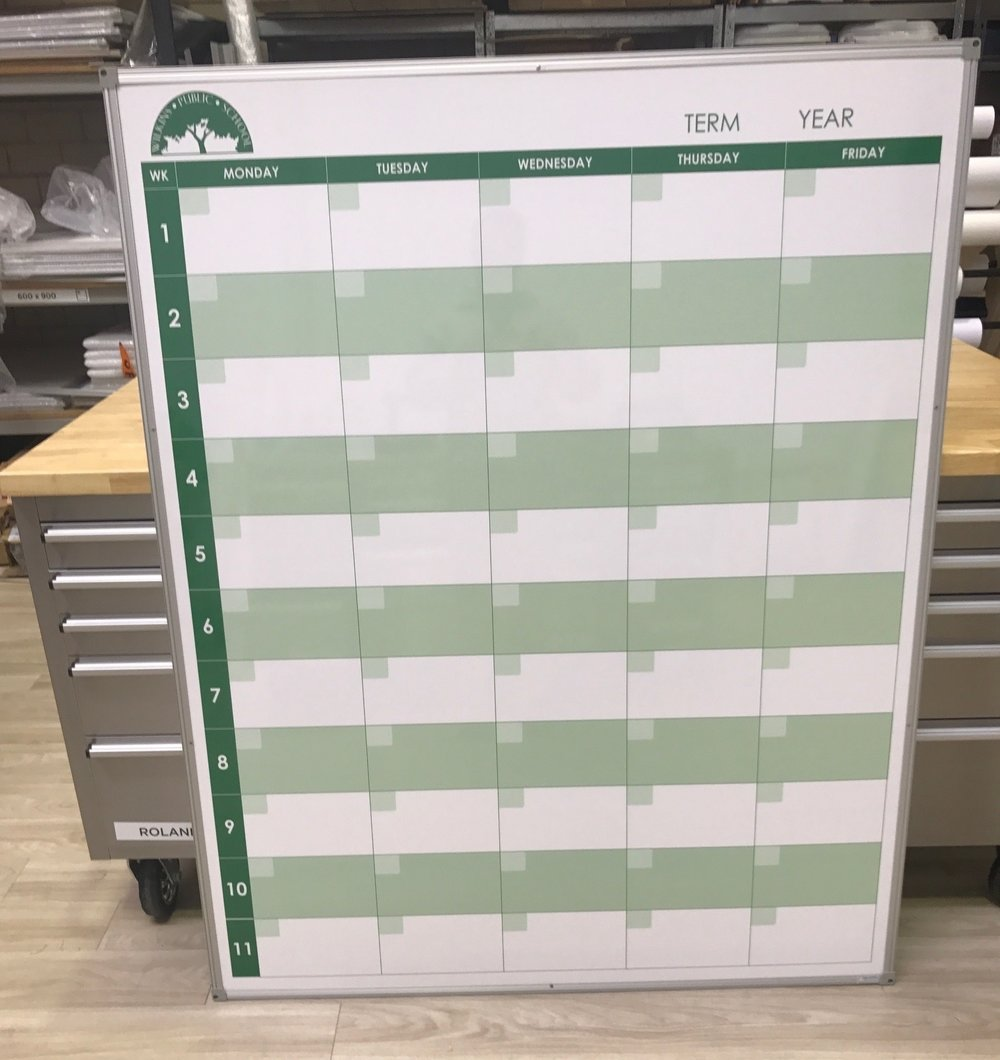 School Term Planner whiteboard