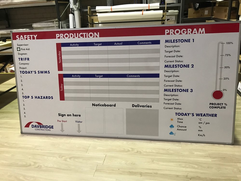 Construction Industry Whiteboards - Custom made Site Safety, Construction Milestone and Production noticeboards plusWHSE Check and Safety Cross Boards.