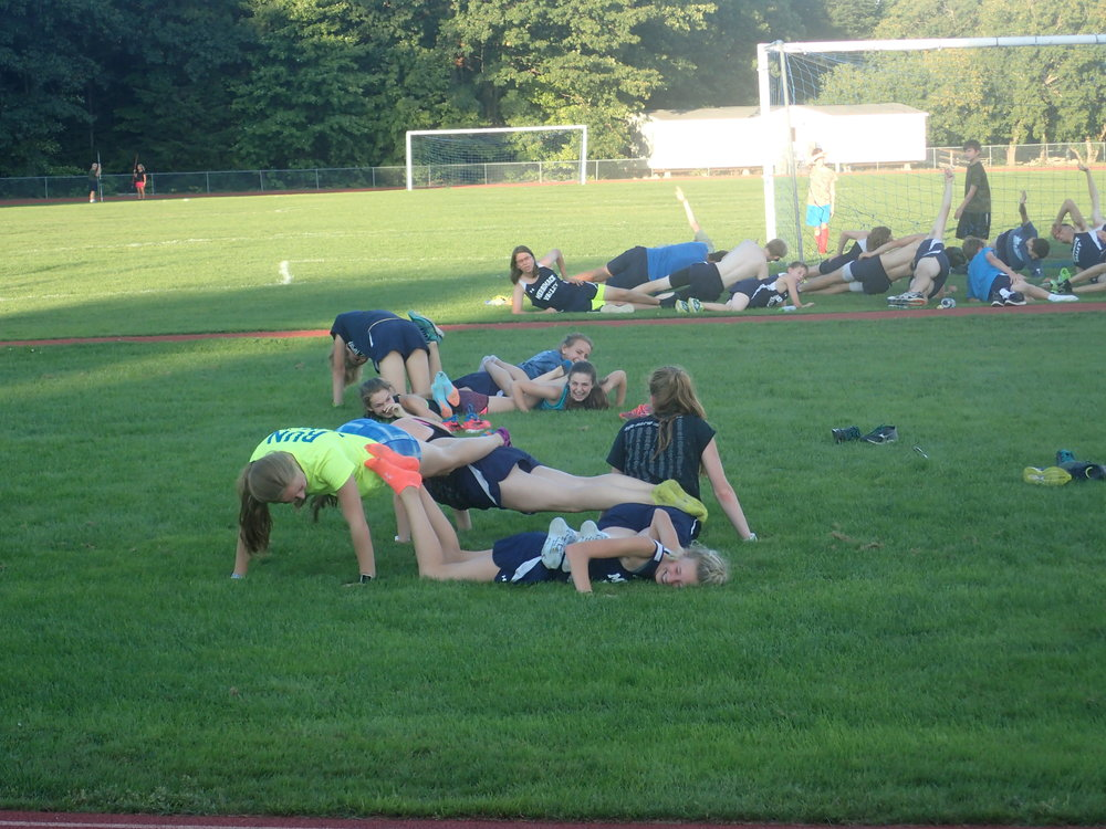Sorry Girls, I'm Still Not Believing the Four-Person Push-up Happened. PS - Nice Plank, Mitchell!