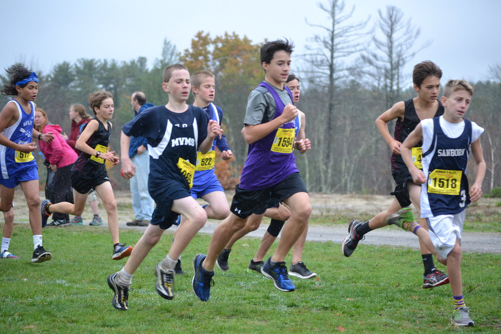 Ethan at the Start of the Middle School DII Championships