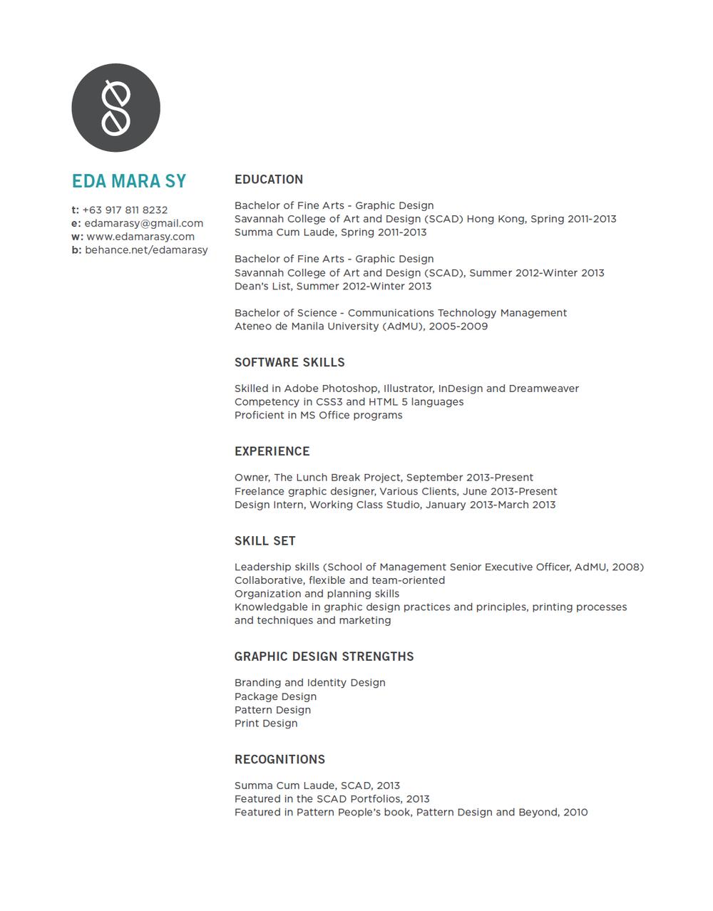 Resume — Eda Mara Sy