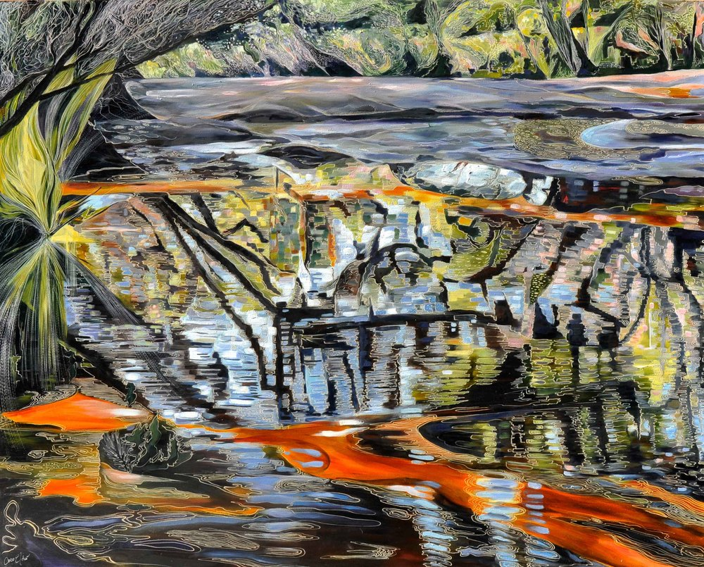 Title: 'Fragmented - America Bay Creek'.