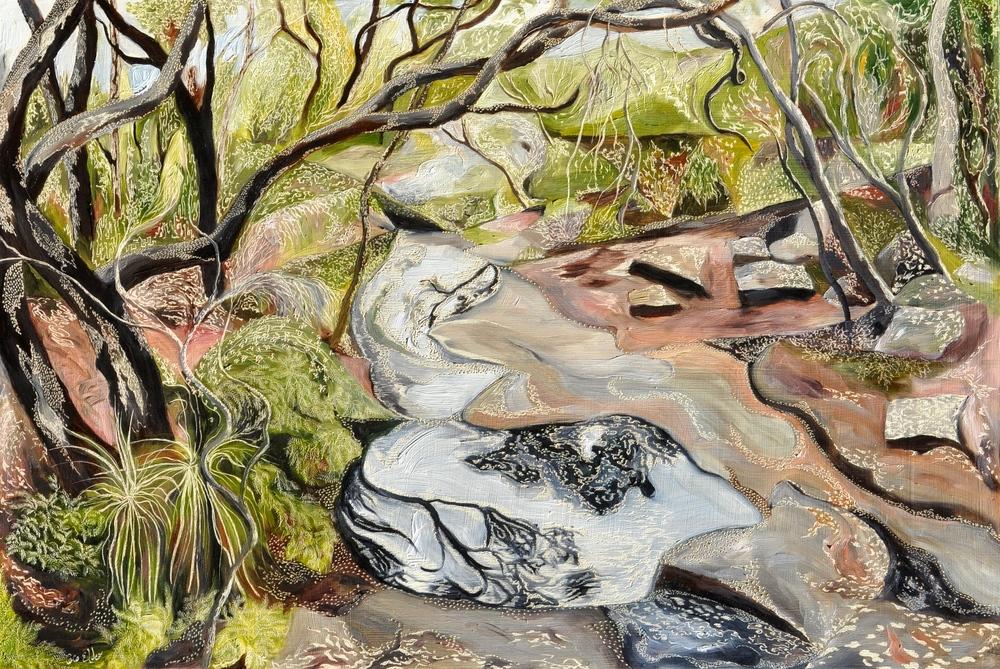 Salvation Creek - El Nino Medium: Oil on board carved  Dimensions: 60 x 90 cm  SOLD