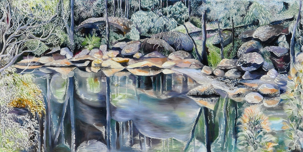 Casuarinas and Oysters at Coal and Candle Creek Medium: Oil on Board Carved Dimensions: 60x 120 cm  SOLD