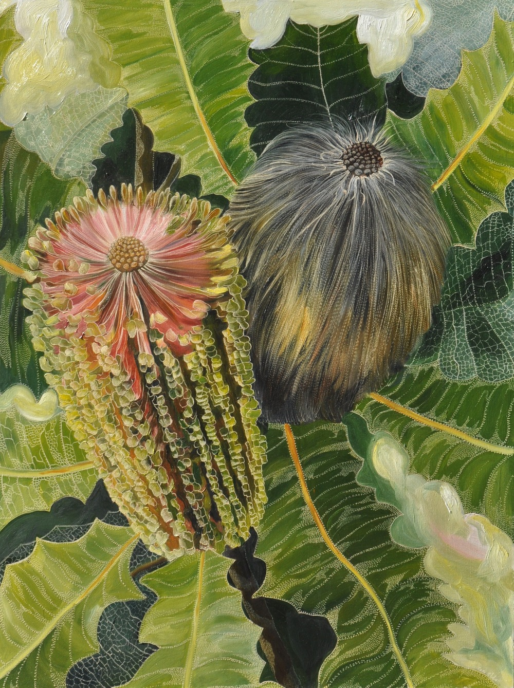 Homage to Banksia Robur Medium: Oil on board carved  Dimensions: 1209 x 90 cm