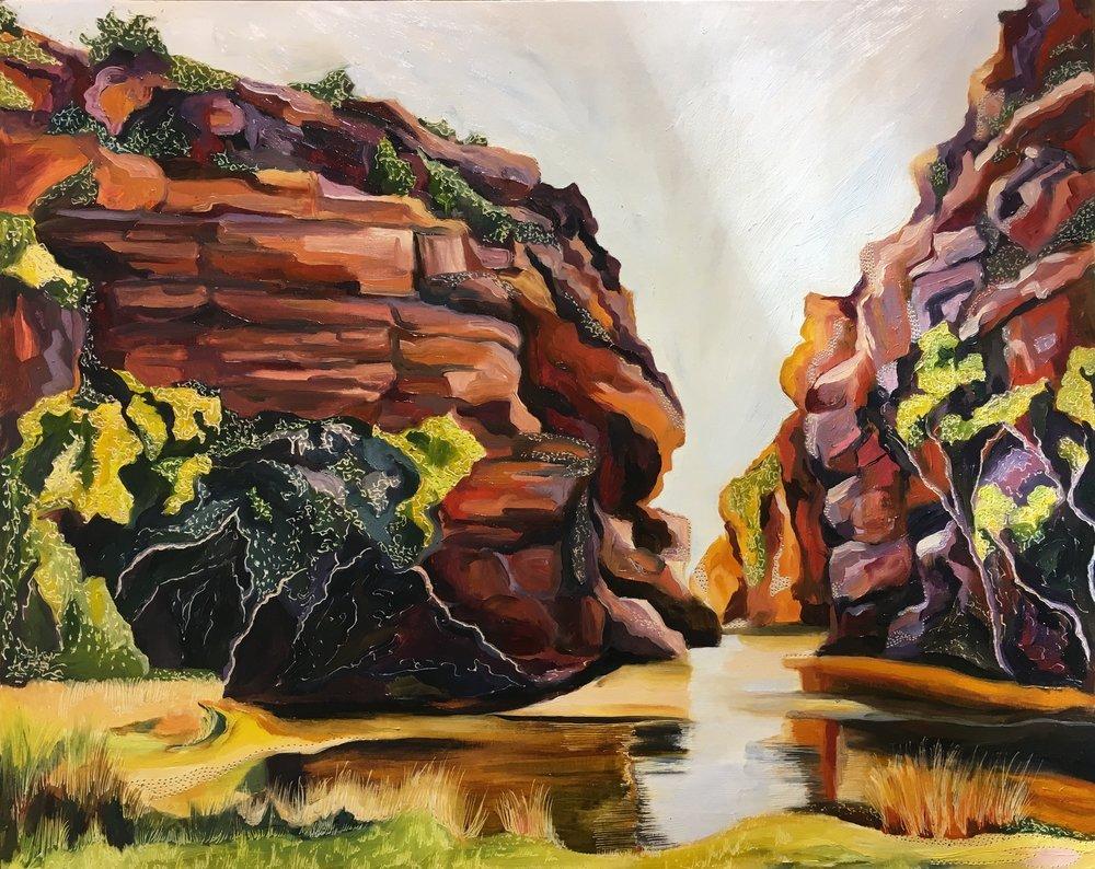 Title: Ellery Creek Big Hole Medium: oil on board carved Dimensions: 45 x 60 cm