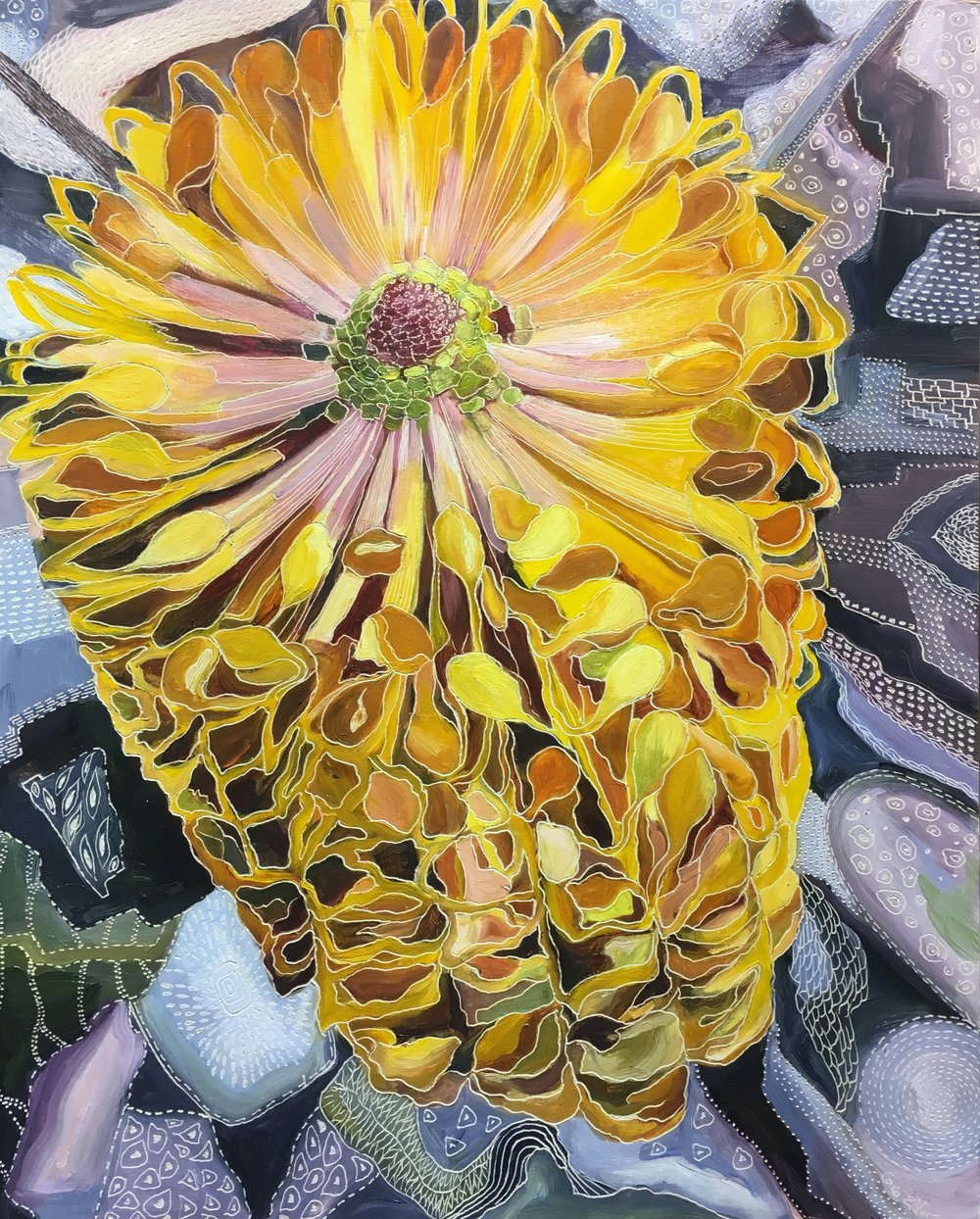 Title: Bursting Banksia Medium: oil on board carved Dimensions: 51 x 41 cm