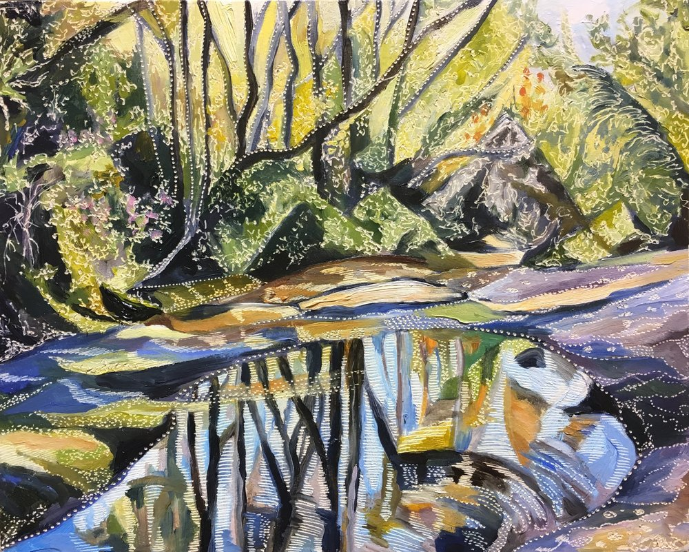 Title: Study for Eriostemon and Banksia at Salvation Creek Medium: oil on board carved Dimensions: 20.5 x 25.5 cm  SOLD