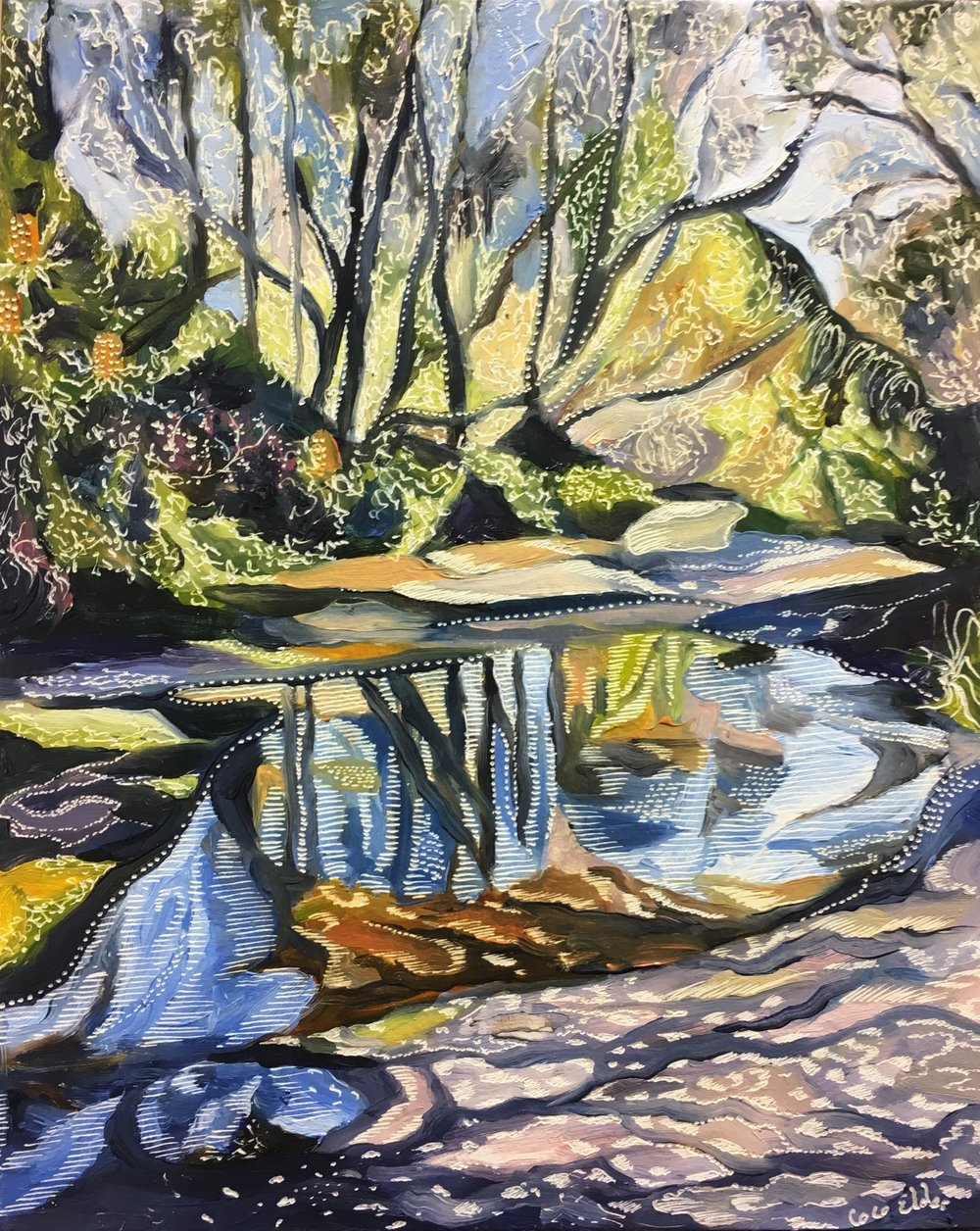 Title: Study for Spring at Salvation Creek Medium: oil on board carved Dimensions: 20.5 x 25.5 cm  SOLD