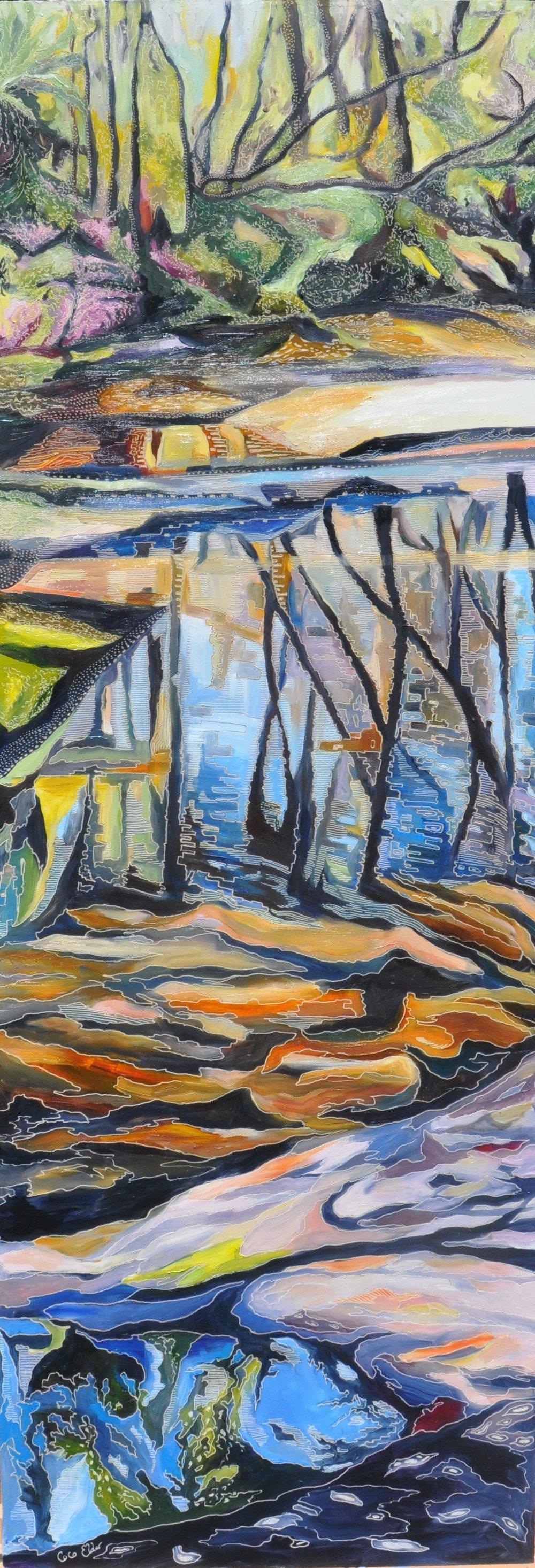Title: Sliver of Salvation Creek Medium: oil on board carved Dimensions: 40 cm x 120 cm  SOLD