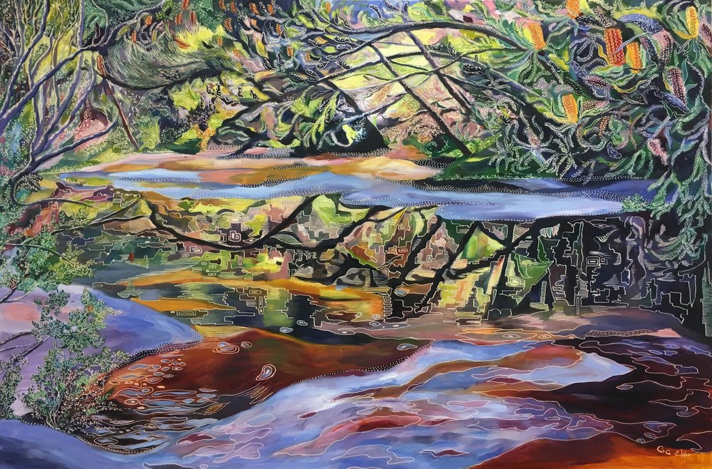 Reflections of Ericifolia – America Bay Oil on board carved 60cm x 90cm