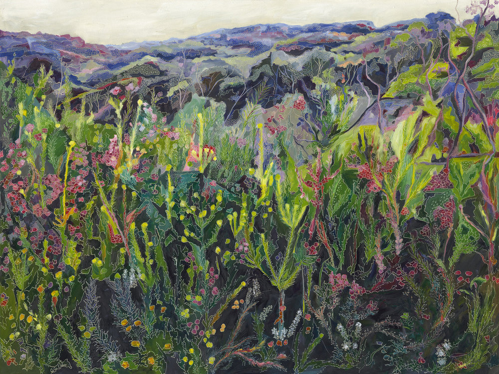 Title: Hazey Escarpment in the Garden of Ku-Ring-Gai   Medium: oil on board carved  Dimensions: 90 x 120 cm   SOLD