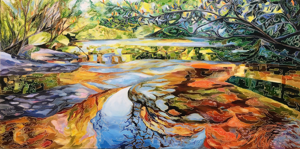 Title: Rippled Reflections of Sydney Sandstone and Acia Ericifolia.   Medium: Oil on Board Carved  Dimensions: 60 x 90 cm   SOLD