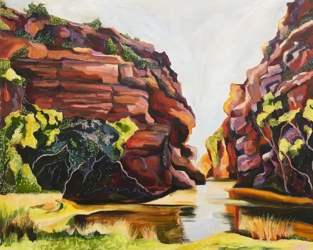 Title: Ellery Creek Big Hole   Medium: oil on board carved  Dimensions: 45 x 60 cm   SOLD