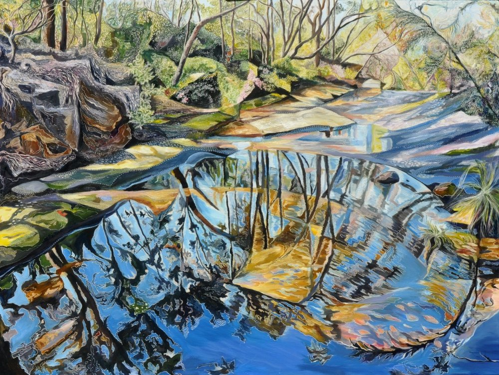 Title: Sydney Sandstone Submerged - Salvation Creek   Medium: Oil on Board Carved  Dimensions: 90x120cm   SOLD