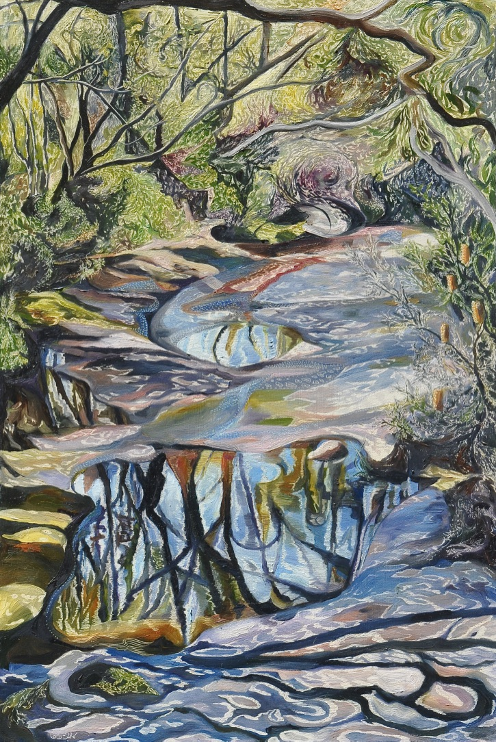 Title: Dappled Light - Salvation Creek  Medium: Oil on board carved  Dimensions: 90 x 60 cm
