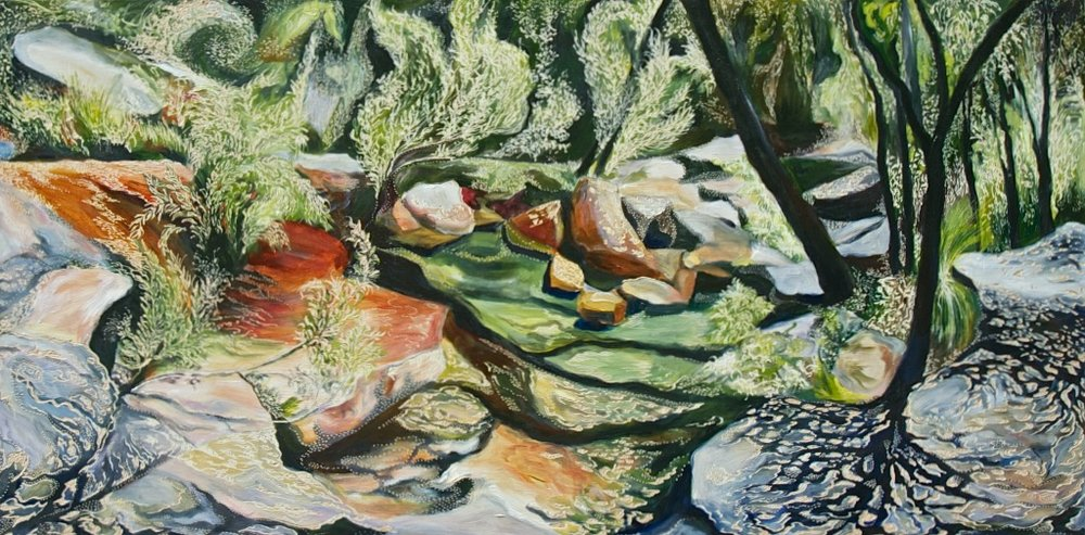 Title: Dappled Light at Hidden Creek   Medium: Oil on Board Carved  Dimensions: 120 x 60 cm   SOLD