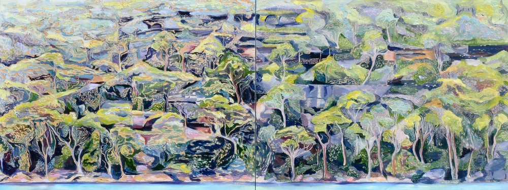 Title: Illawong Bay Escarpment Diptych   Medium: oil on Board Carved  Dimensions: 45 x 120 cm   SOLD