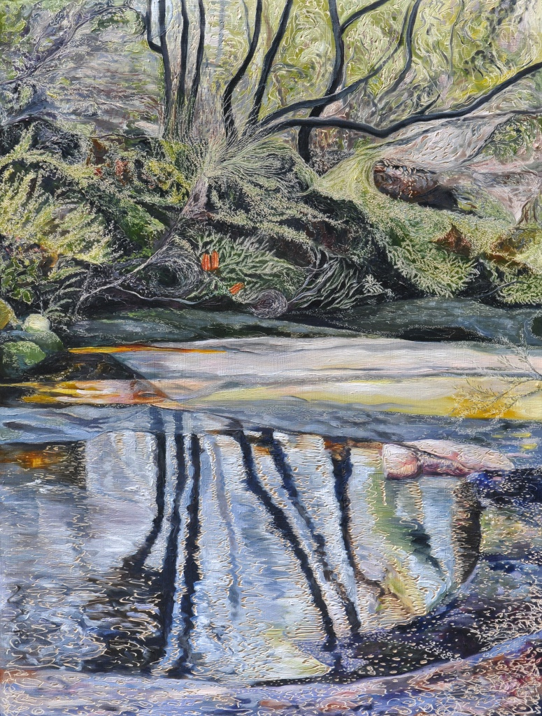 Title: Salvation Creek - Saturated   Medium: Oil on board carved  Dimensions:120 x 90 cm   SOLD