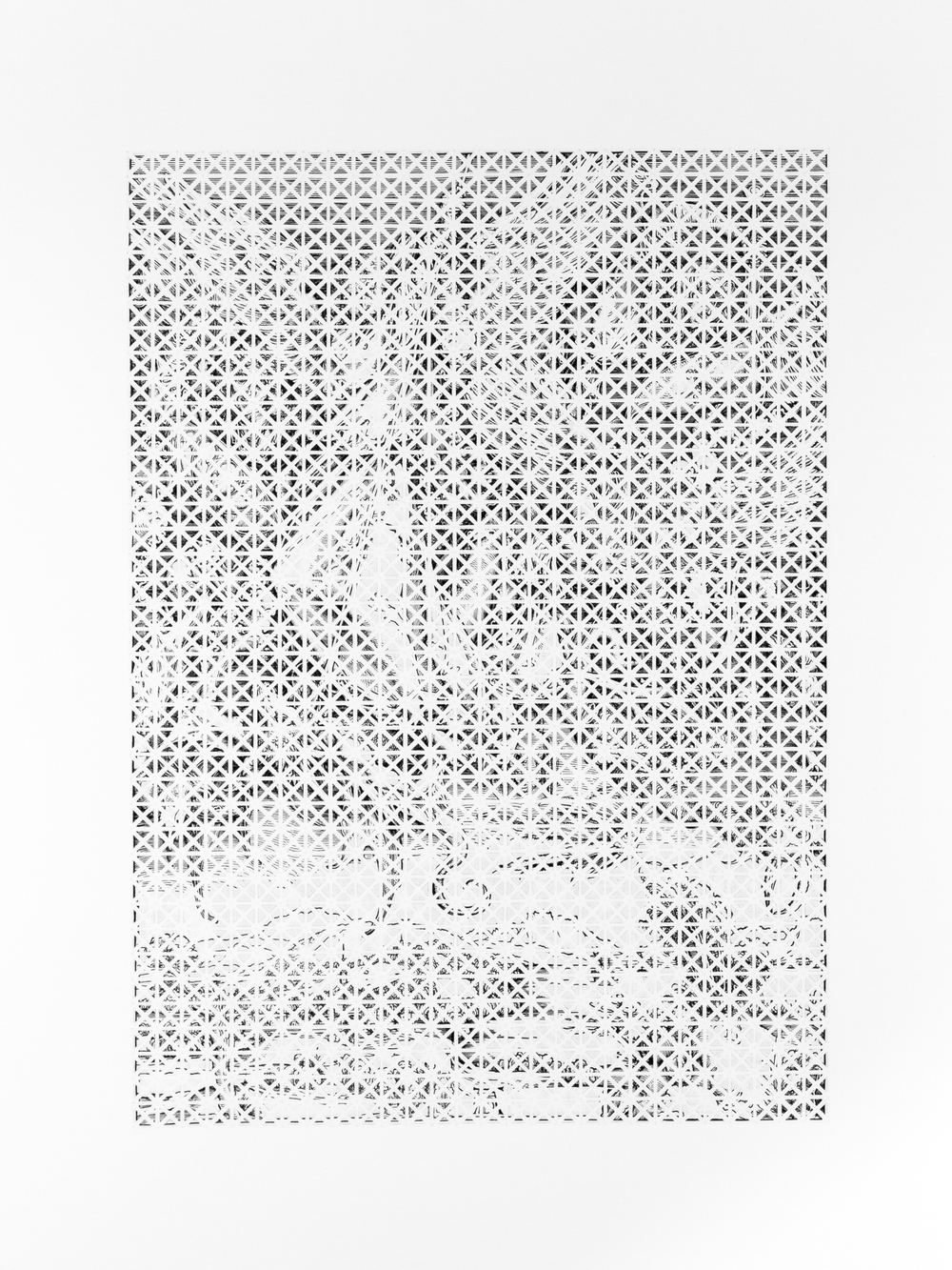 """A Sense of Order 2   A page torn from an Albrecht Dürer anthology, cut into pieces, and collaged onto paper.  24"""" x 18.9""""  2015"""