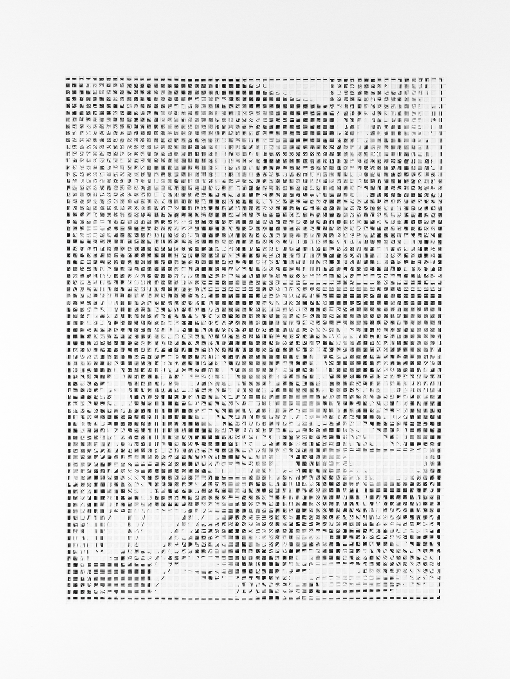 """A Sense of Order 1   A page torn from an Albrecht Dürer anthology, cut into pieces, and collaged onto paper.  24"""" x 18.9""""  2015"""