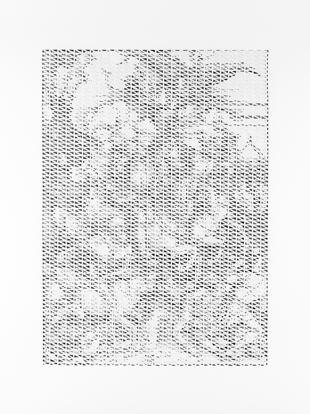 """A Sense of Order 8   A page torn from an Albrecht Dürer anthology, cut into pieces, and collaged onto paper.  24"""" x 18.9""""  2016"""