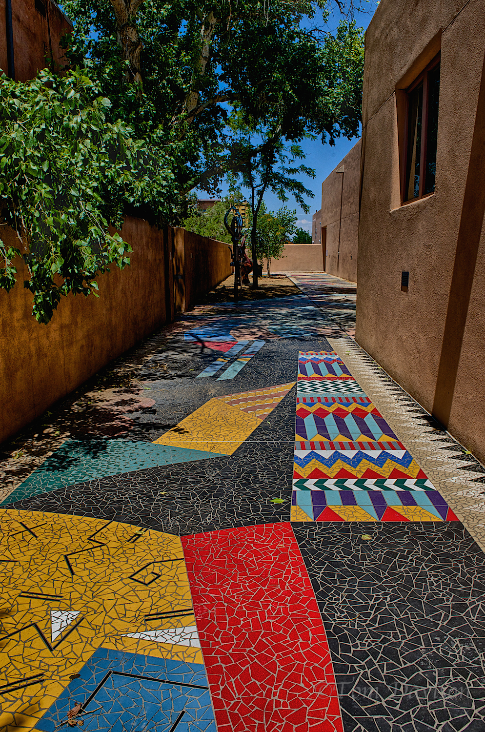 Sidewalk alongside the Albuquerque Museum of Art and History