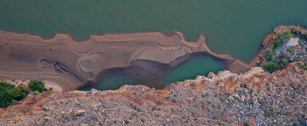 Sand bar in Colorado River looking down from Navajo Bridge.