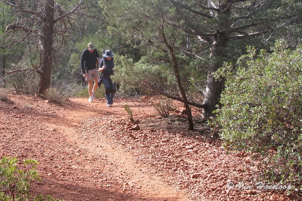 If you are going to hike 4 miles do it in fabulous scenery with friends like Ann and Greg.  Here, Greg walks behind me protecting me from mountain lions and reminding me to be careful.