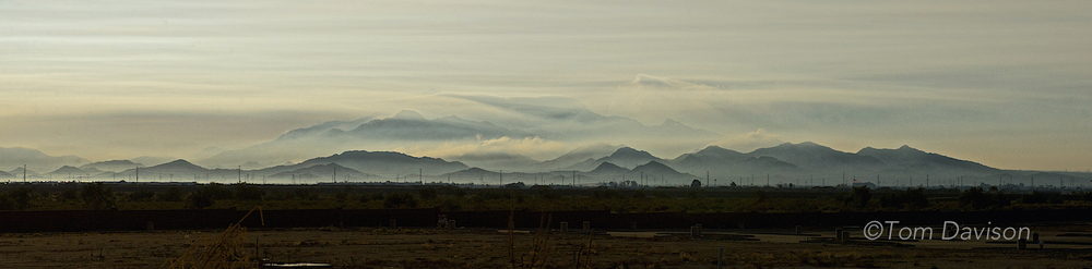 This was the view from I-10 going east to meet up with the group to ride the Rapid Rail from Camelback and Central to Tempe.  Fog was predicted for the morning. These are the Estrella Mountains.