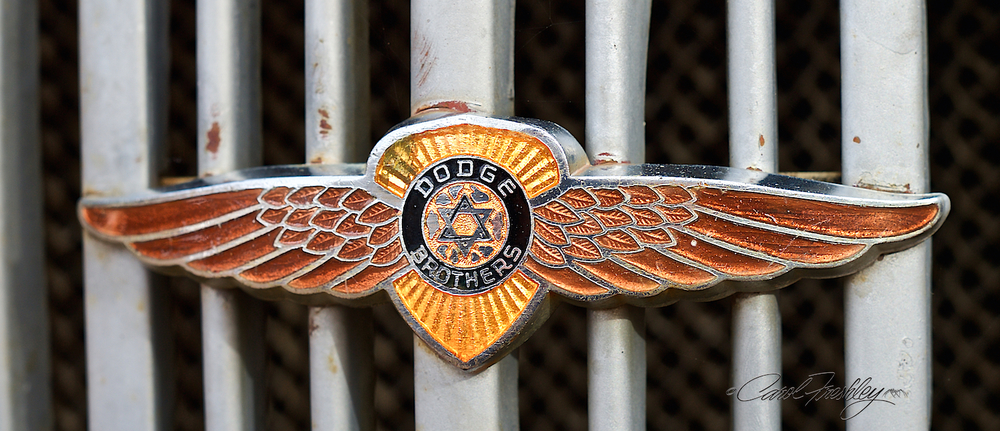Rare radiator emblem showing the Star of David and the Dodge Brothers on a '36 pickup.