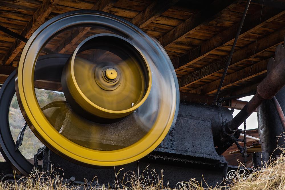 The great sawmill wheel a-turnin'.