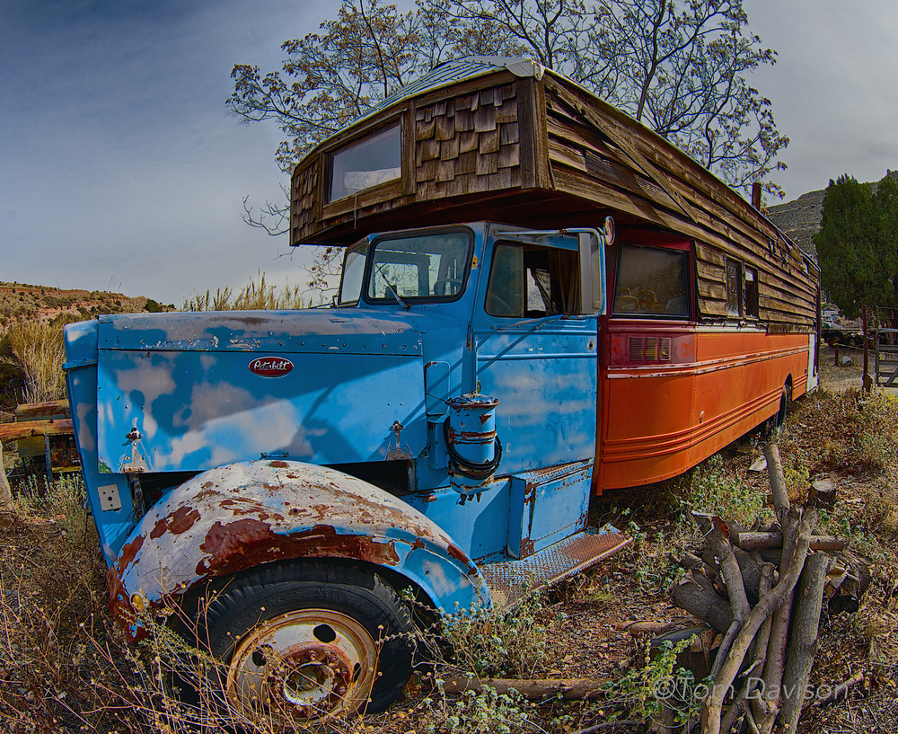 An old motor home. I would have been happy just walking around and capturing its funkie character. Not Tom. He goes for the GOLD.