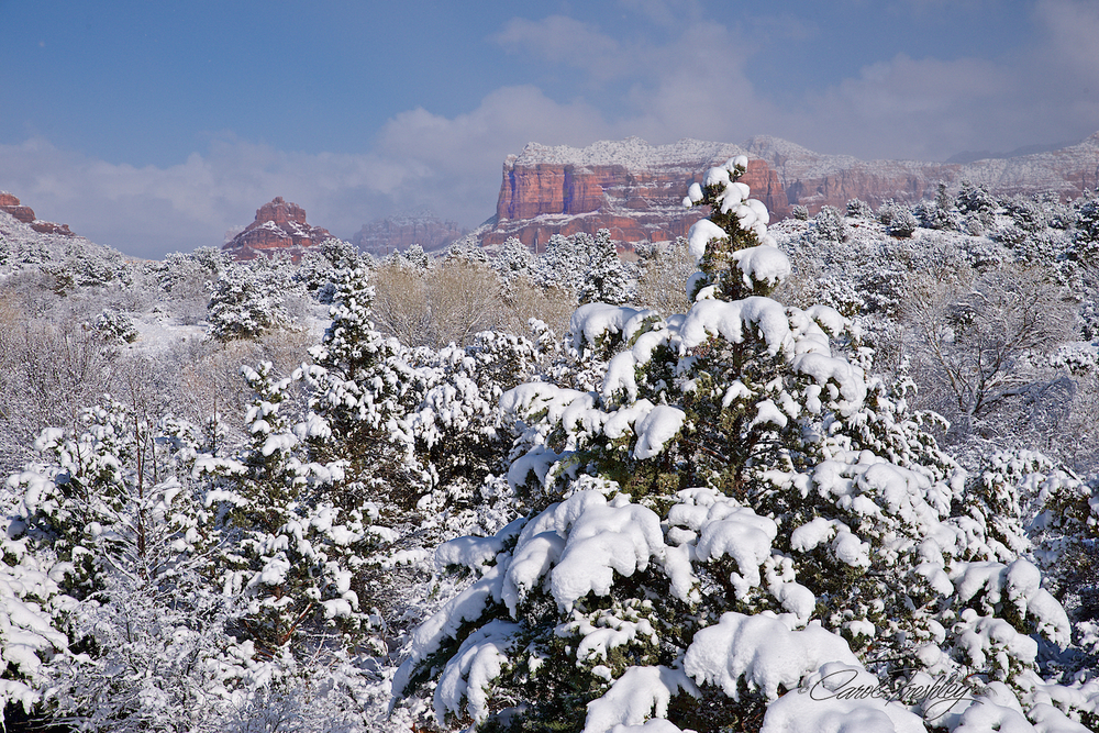 From the Ranger Station just outside Sedona.  Checking for park closures, maps, suggestions, etc.  It was cold and the sky was just beginning to clear up.