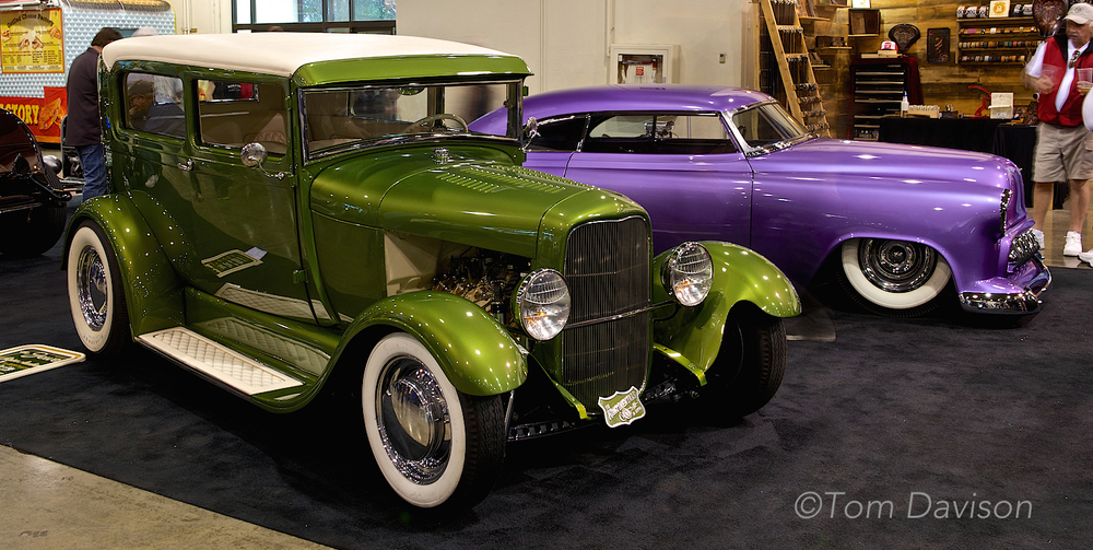 1930 Model A sedan hot rod in the green.  1954 Chevrolet custom in the purple.