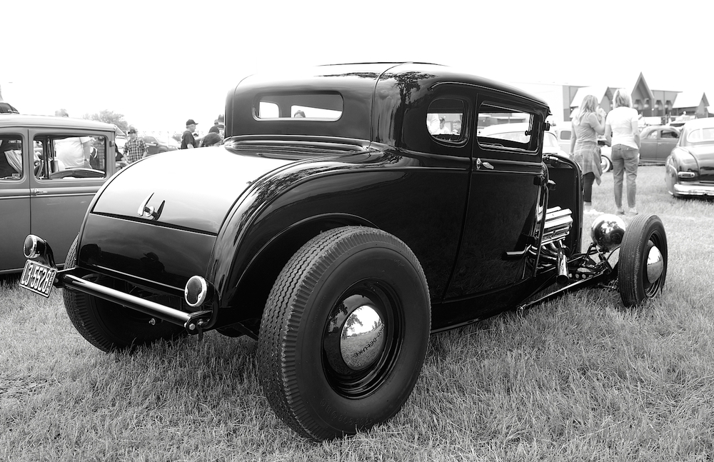 A 1930 Model A Ford, close behind the Deuce as the second most popular hot rod body style.  Notice the fenders were removed.