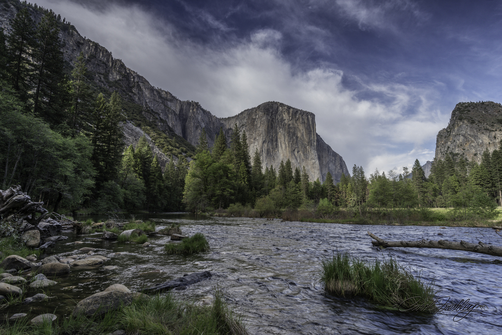 Look west from banks of Merced River.