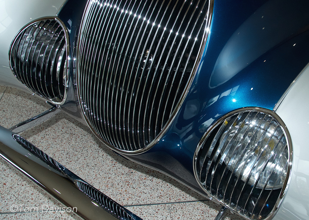 Grill and headlights of a Talbot Lago (French car).