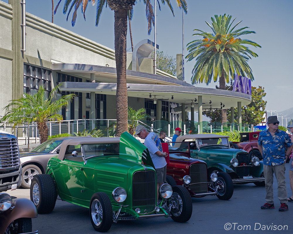 A row of roadsters in front of the Art Deco Avalon Ballroom at the Fairplex where the show was held.